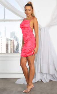 Make You Mine Pink Ruched Satin Square Neck Spaghetti Strap Sleeveless Criss Crossed Open Back Mini Bodycon Dress