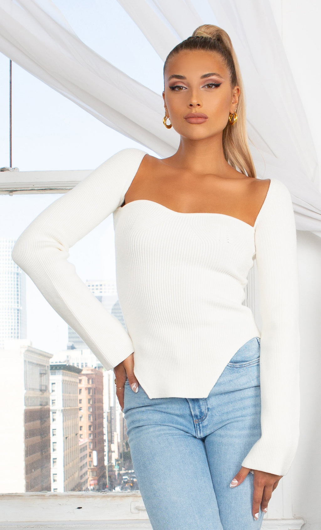 Parisian Soul Ivory Ribbed Long Sleeve Stretchy Bustier Sweetheart Neckline Cut Out Hem Pullover Sweater Knit Top