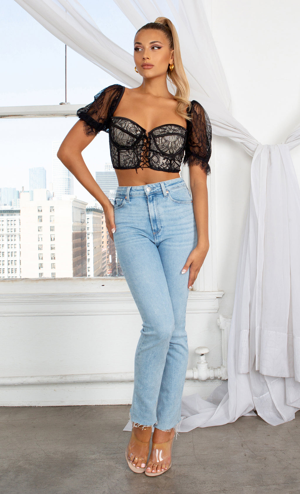 Private Meeting Black Sheer Mesh Lace Bustier Embroidery Short Puff Sleeve V Neck Lace Up Corset Blouse Crop Top