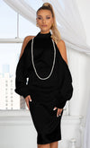 Divine Vision Black Sleeveless Pearl Strap Off The Shoulder Bow V Neck Flare Leg Jumpsuit
