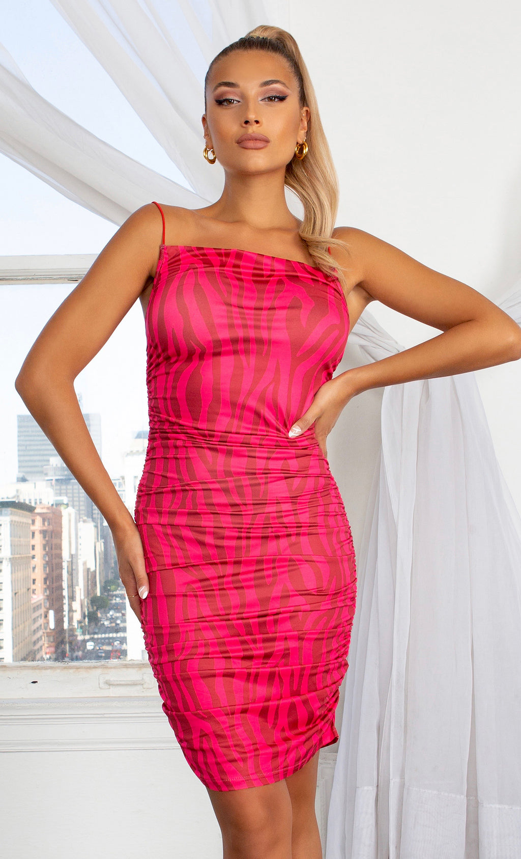 Going Wild Zebra Print Pattern Hot Pink Fuchsia Bodycon Square Neck Spaghetti Strap Sleeveless Mini Bodycon Dress