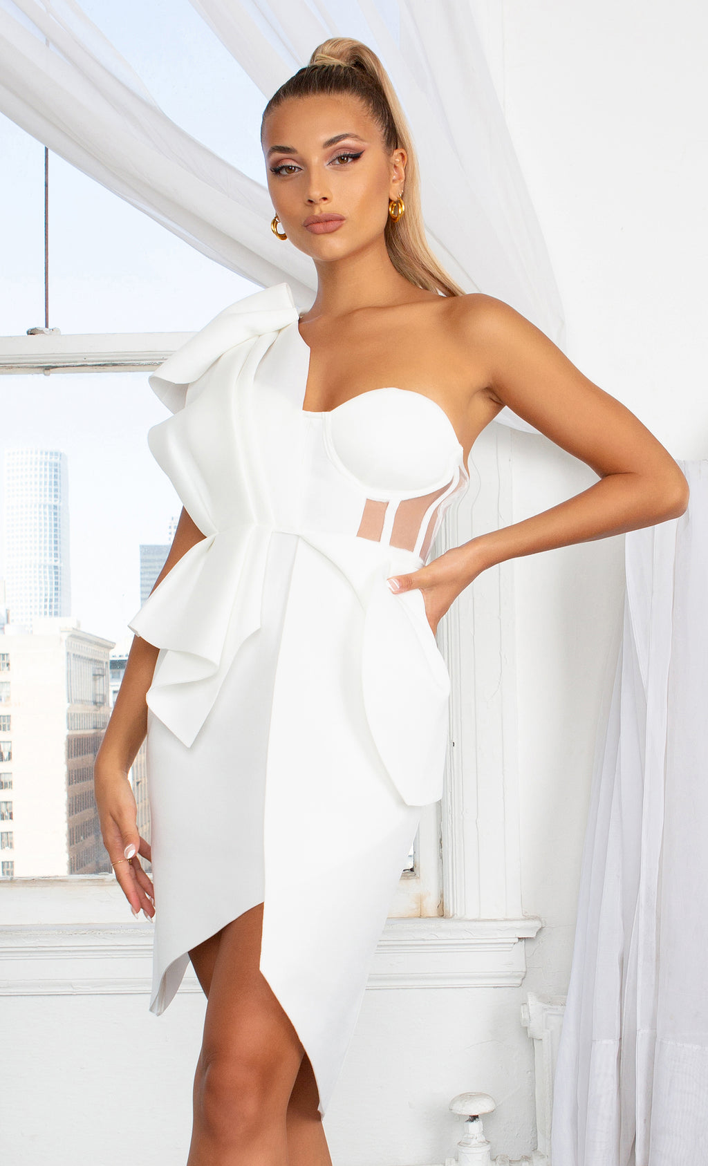 Social Affair White Sleeveless Ruffle One Shoulder Bow Draped V Neck Mesh Panel Bustier Cross Wrap Split Midi Dress