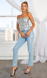 Dominate The Scene Silver PU Faux Leather Sweetheart Bustier Riveted Zipper Belted Crop Strapless Top