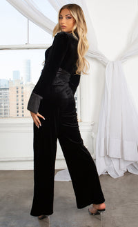 Orient Express Black Velvet Bow Tie Waist Belted Jacket Wide Leg Pants V Neck Satin Cuff Zip Front Jumpsuit