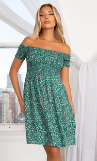 Better With You Green Floral Pattern Short Sleeve Off The Shoulder Skater Flare Casual Mini Dress