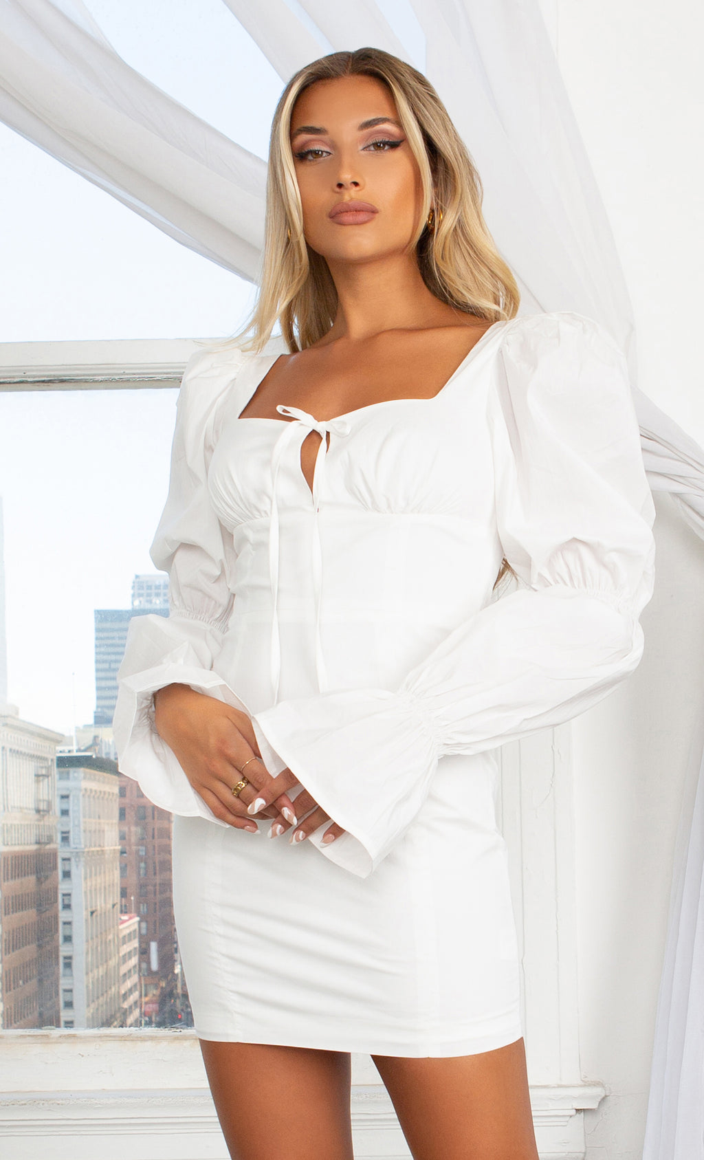 Follow Your Heart White Long Bubble Lantern Sleeve Puff Shoulder Cut Out Sweetheart Lace Up Neck Bodycon Casual Mini Dress