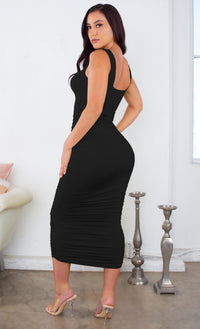 Crush On You Gray Sleeveless Square Neck Scoop Back Ruched Bodycon Midi Dress