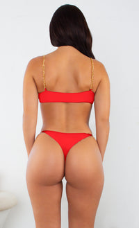 I'm All Good Red Gold Chain Underwire High Cut Brazilian Bikini Swimsuit Two Piece Set