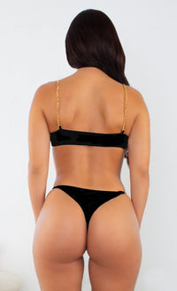 I'm All Good Tiger Gold Chain Underwire High Cut Brazilian Bikini Swimsuit Two Piece Set