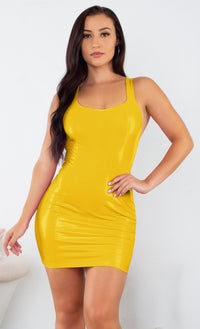 Turn Up Tonight Orange PU Patent Faux Leather Sleeveless Scoop Neck Racerback Bodycon Mini Dress