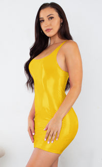 Turn Up Tonight Yellow PU Patent Faux Leather Sleeveless Scoop Neck Racerback Bodycon Mini Dress