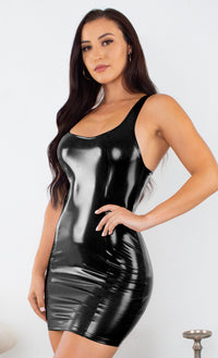 Turn Up Tonight Black PU Patent Faux Leather Sleeveless Scoop Neck Racerback Bodycon Mini Dress