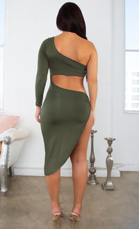 New Motives Green Long Sleeve One Shoulder Asymmetric Cut Out Side High Slit Bodycon Midi Dress - 4 Colors Available