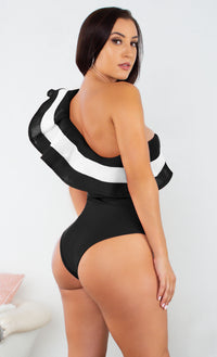 Beach Chic White One Shoulder Stripe Mesh Ruffle One Piece Bodysuit Swimsuit Pattern Monokini