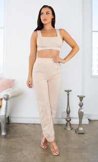 Hardly Working White Ribbed Sleeveless Scoop Neck Crop Top Elastic Waist Jogger Pant Two Piece Lounge Jumpsuit Set