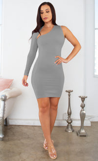 By My Side Gray One Long Sleeve Slash Neck Cut Out Asymmetric Stretchy Bodycon Mini Dress