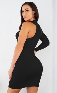 By My Side White One Long Sleeve Slash Neck Cut Out Asymmetric Stretchy Bodycon Mini Dress