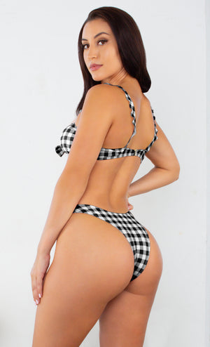 Malibu Barbie Black White Gingham Plaid Pattern Sleeveless Ruffle Tie Front Brazilian Two Piece Bikini Swimsuit