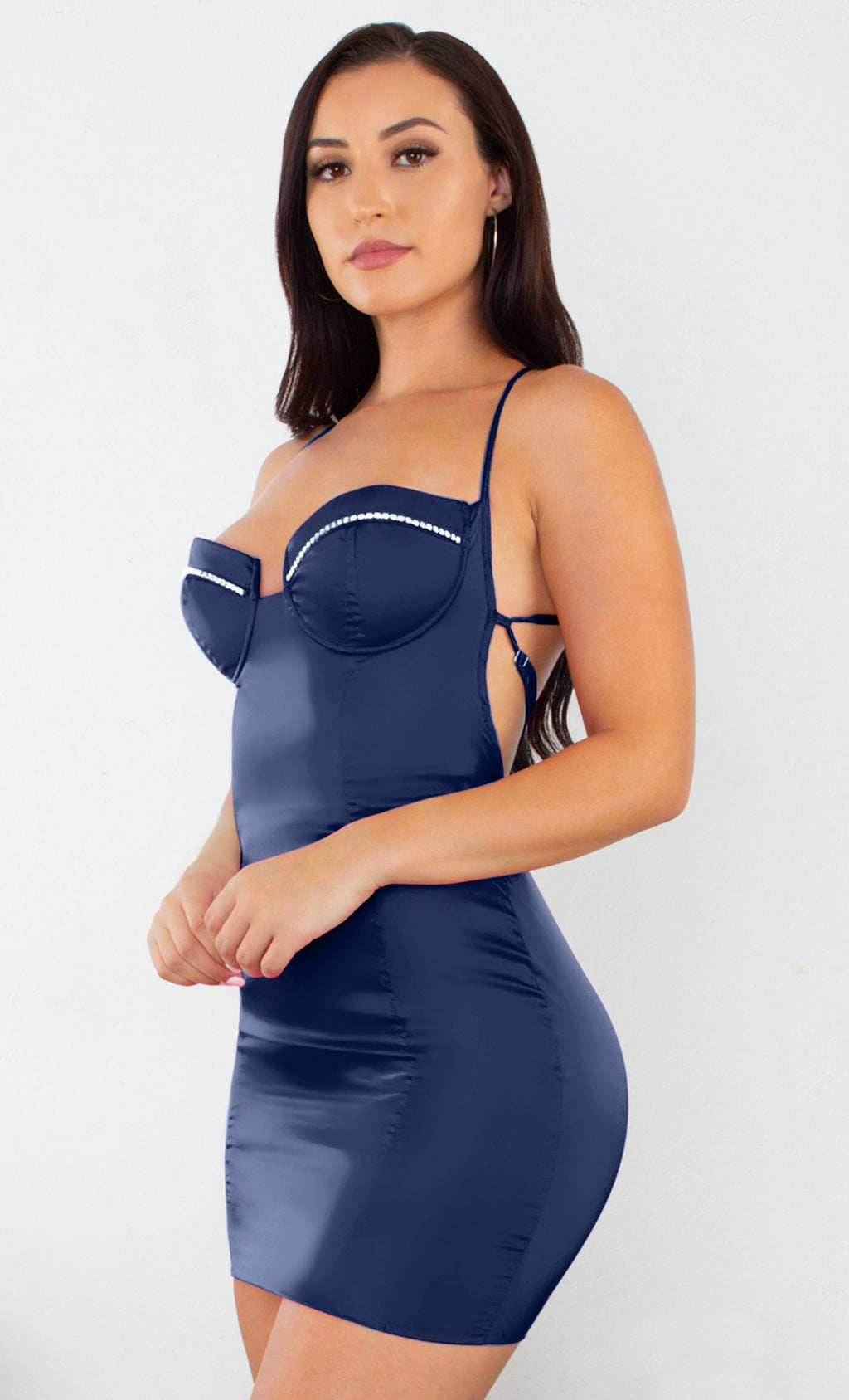 Forever In Your Dreams Navy Satin Sleeveless Spaghetti Strap Backless Cross Strap Rhinestone Bodycon Mini Dress