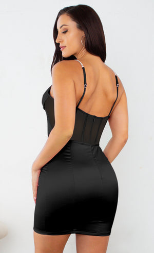 In Control Black Rhinestone Spaghetti Strap Sleeveless Mesh Sheer Bustier Satin Bodycon Mini Dress