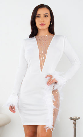 Out For the Night Blue Grey Unicorn Iridescent Sequin Long Sleeve Off The Shoulder Bodycon Mini Dress