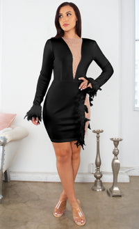 Always Beautiful Black Sheer Mesh Sequin Feather Long Sleeve Plunge V Neck Cut Out Slit Bodycon Mini Dress