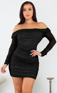 Midnight Stroll Blackl Glitter Mesh Long Sleeve Folded Off The Shoulder Ruched Bodycon Mini Dress