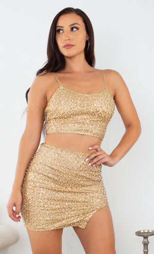 Glamorous Affair Purple Beaded Slit Sleeveless Spaghetti Strap Crop Top Two Piece Bodycon Mini Dress Set - 2 Colors Available
