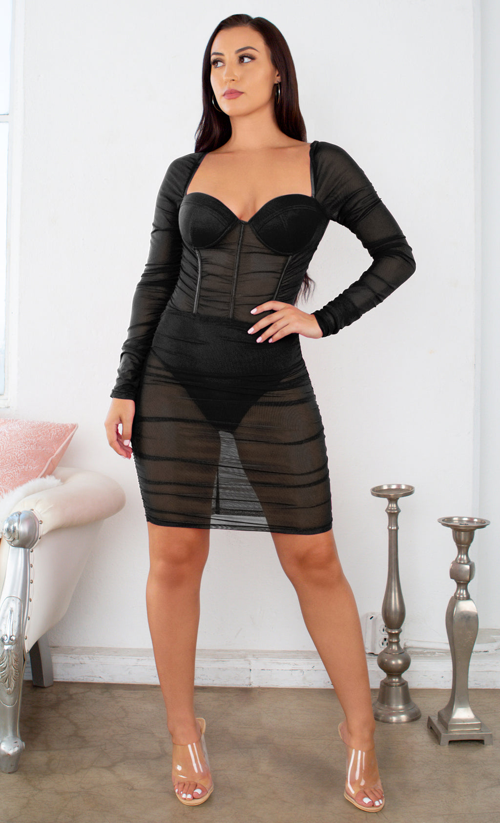 I Told You So Black Sheer Mesh Ruched Long Sleeve Puff Shoulder Sweetheart Neck Bustier Bodycon Mini Dress - 2 Colors Available