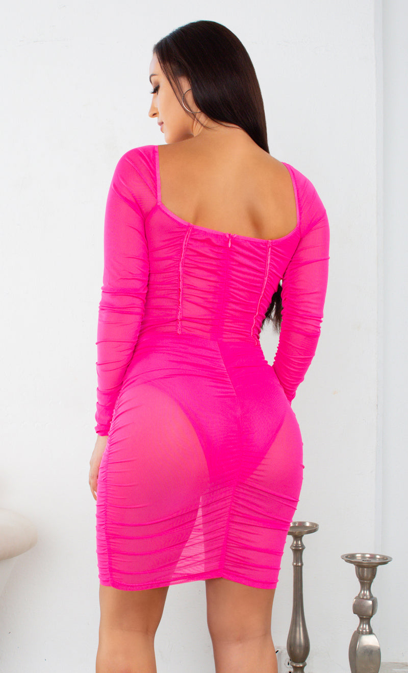 I Told You So Fuchsia Pink Sheer Mesh Ruched Long Sleeve Puff Shoulder Sweetheart Neck Bustier Bodycon Mini Dress - 2 Colors Available