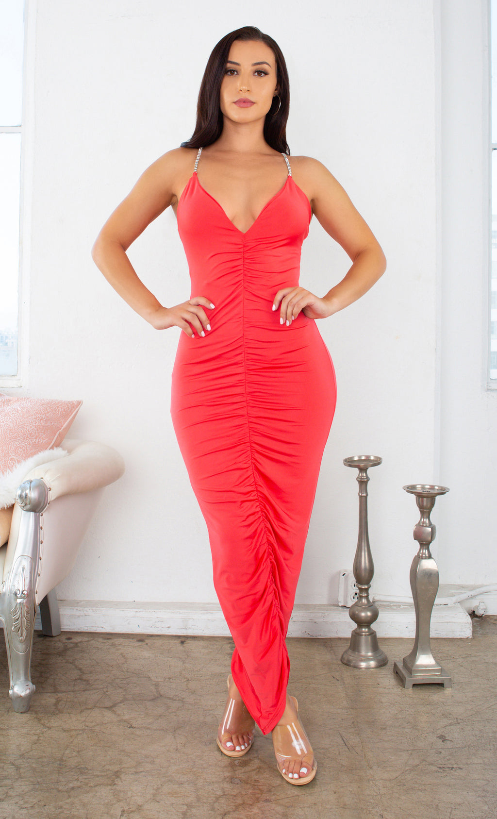 Better Than You Know Hot Coral Pink Sleeveless Rhinestone Spaghetti Strap V Neck Ruched Bodycon Maxi Dress