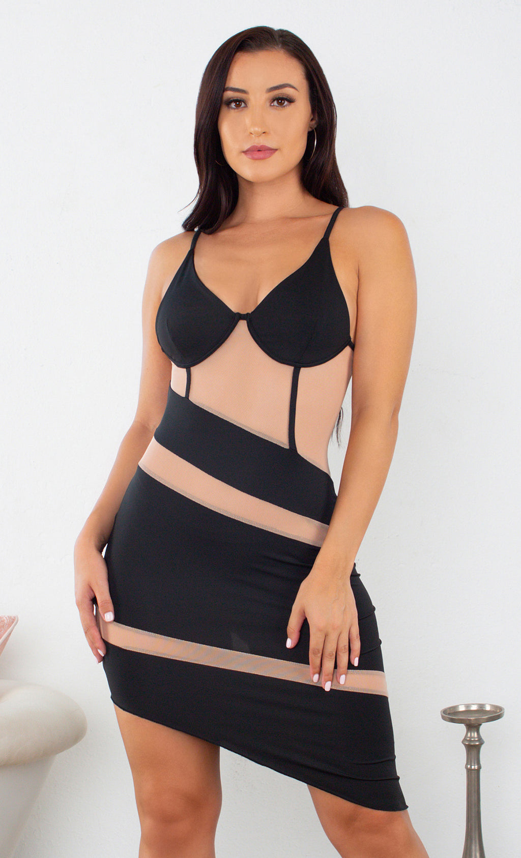 Wrapped Up In You Spaghetti Strap Sleeveless Stretch Bustier Cut Out Black Sheer Nude Mesh Asymmetrical Hem Bodycon Mini Dress Wavy