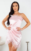 Casting Call Pink Satin Feather Trim Strapless Cross Wrap Bodycon Mini Dress - 3 Colors Available