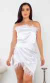Feeling The Moment White Ruffle Short Sleeve Off The Shoulder Plunge V Neck Wrap Ruched Bodycon Mini Dress