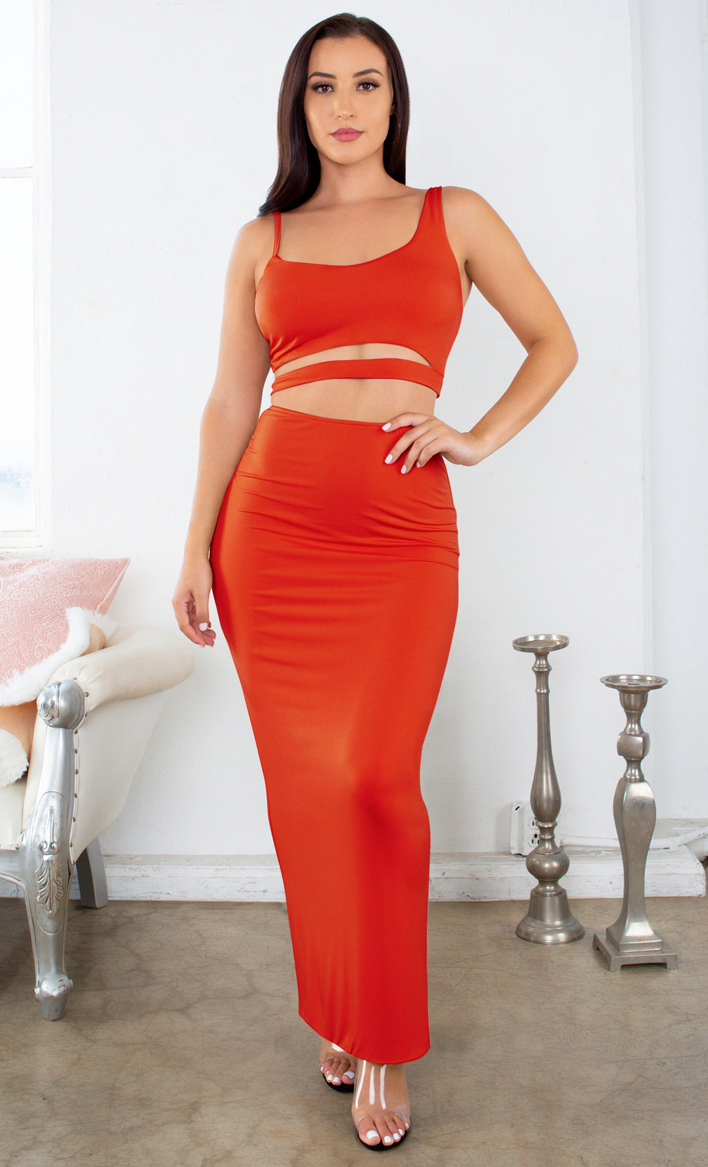 Missing Miami Orange Sleeveless Spaghetti Strap Scoop Neckline Cut Out Waist Bodycon Maxi Dress