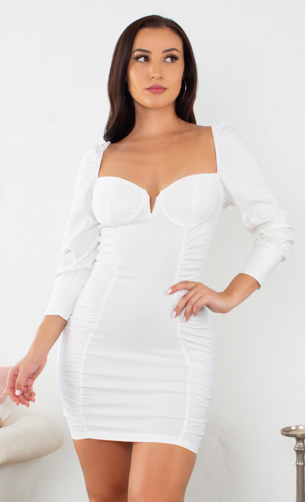 I'm Baby White Puff Shoulder Long Cuff Sleeve Bustier Sweetheart Ruched Panel Bodycon Mini Dress