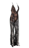Take A Step Back Black Sequin Floral Pattern Sheer Mesh Sleeveless Spaghetti Strap Plunge V Neck Backless Double Slit Wide Leg Loose Jumpsuit - Sold Out