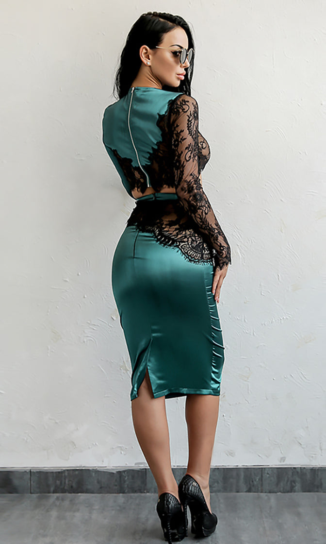 Blow You Away Teal Satin Sheer Mesh Lace Long Sleeve Crop Top High Waist Bodycon Two Piece Midi Dress