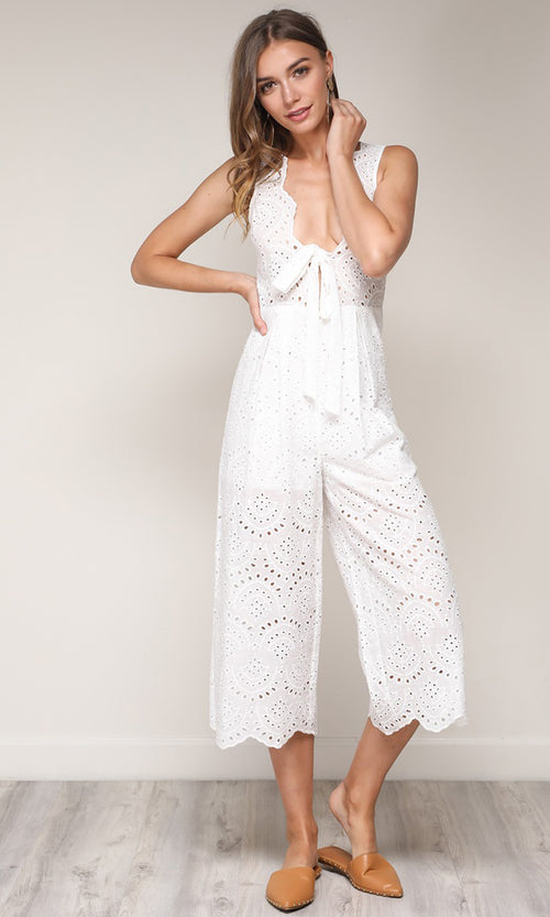 Summer Kisses Sleeveless Pointelle Lace Bow V Neck Wide Leg Crop Jumpsuit - 2 Colors Available (Pre-Order)
