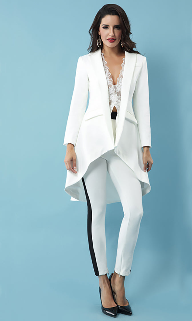 Daytime Drama White Long Sleeve Double Breasted Asymmetric Ruffle Button Jacket Outerwear