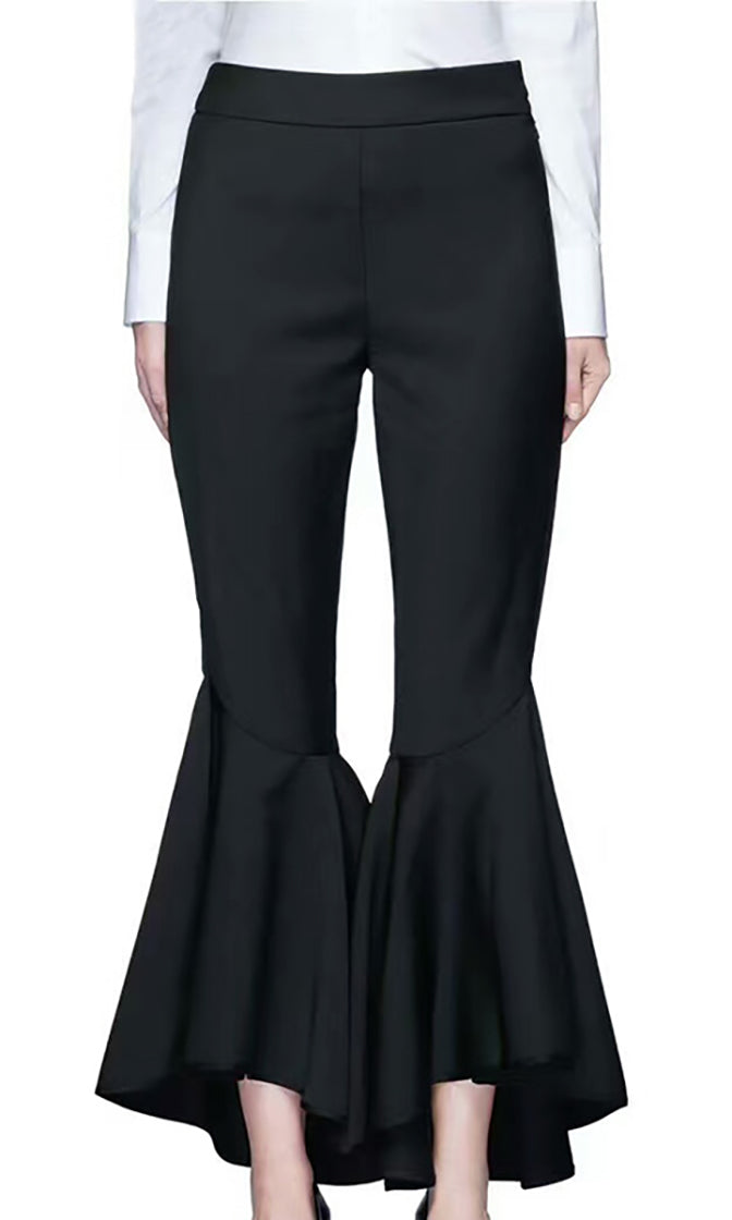 Work With Me Black High Waist Ruffle Flare Leg Back Flap Pockets Ankle Length Trouser Pant