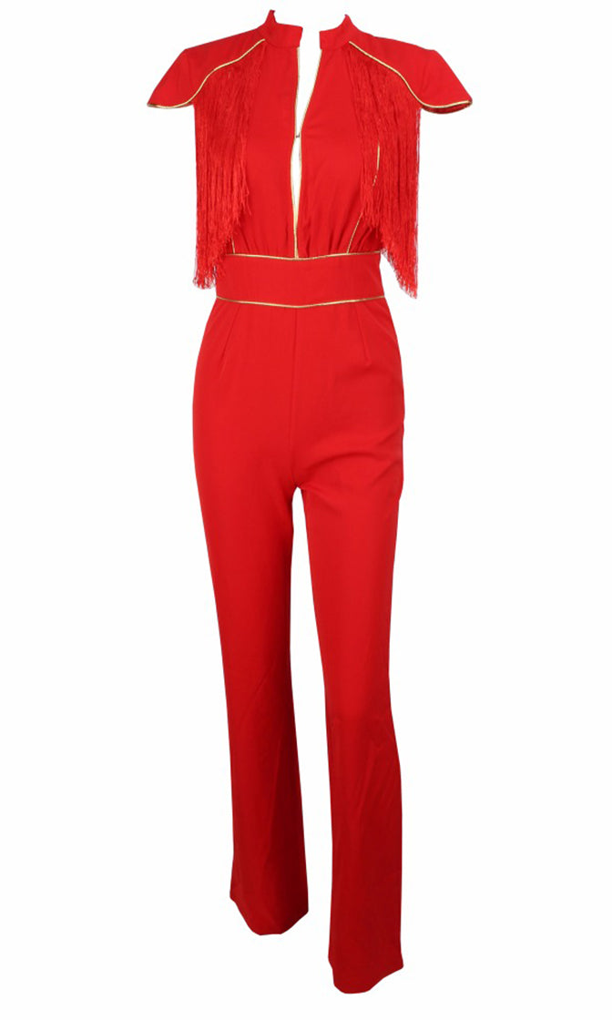 In The Hot Seat Red Tassel Fringe Cap Sleeve Gold Piping Cut Out Jumpsuit - Sold Out