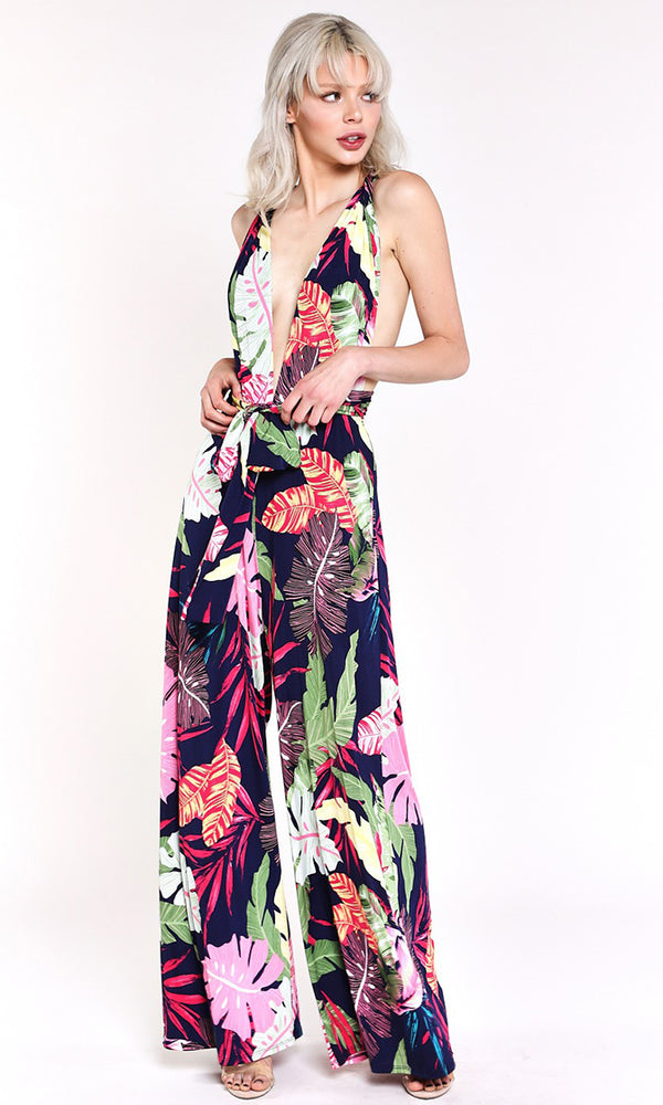 Hot Tropics Navy Floral Pattern Sleeveless Plunge V Neck Backless T-Strap Halter Wide Leg Loose Jumpsuit (Pre-order)