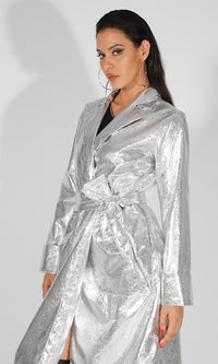 Leading the Pack Silver PU Faux Leather Reflective Metallic Long Belted Wrap Jacket Outerwear