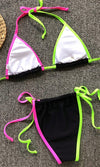 Cake By The Ocean Multicolor Striped Rainbow Triangle Top Tie Side Brazilian Bikini Swimsuit Set