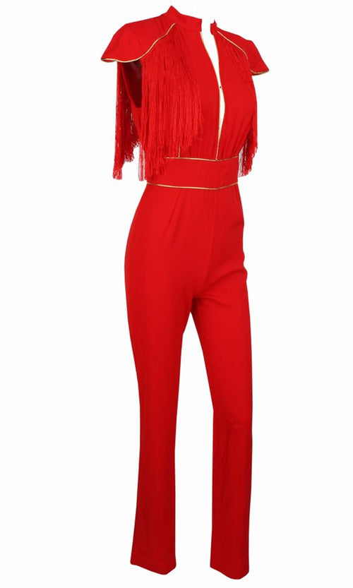 In The Hot Seat Red Tassel Fringe Cap Sleeve Gold Piping Cut Out Jumpsuit