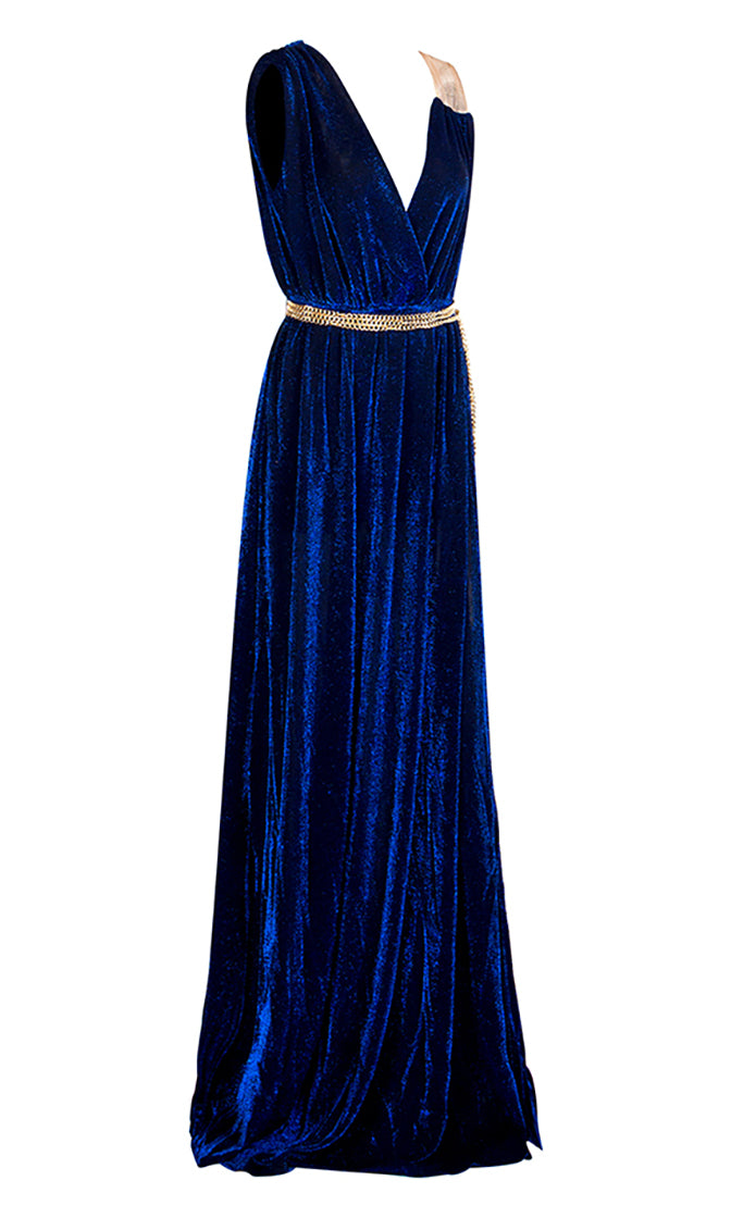 Hollywood Beauty Blue Gold Sleeveless Cross Wrap V Neck Pleated Chain Belt Side Slit Maxi Dress