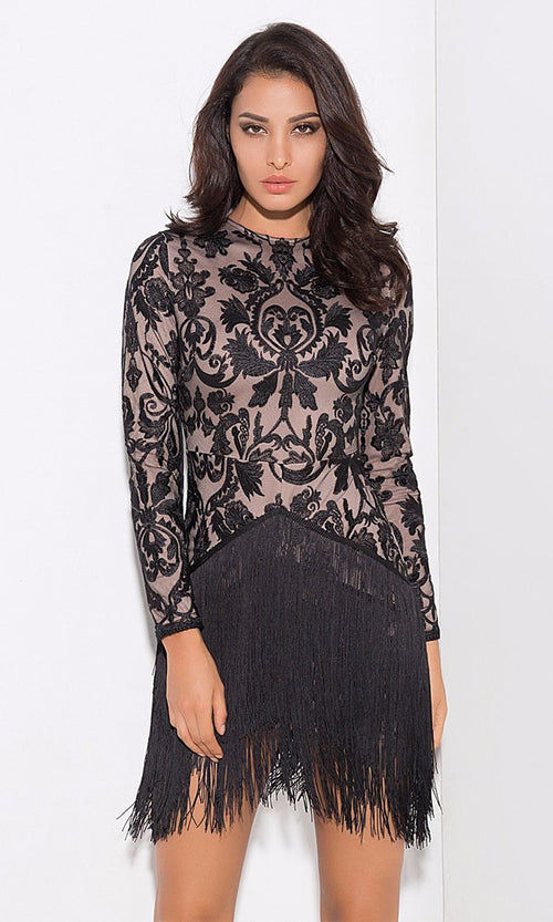 Brocade Beauty Black Nude Lace Embroidery Fringe Long Sleeve Round Neck Mini Dress