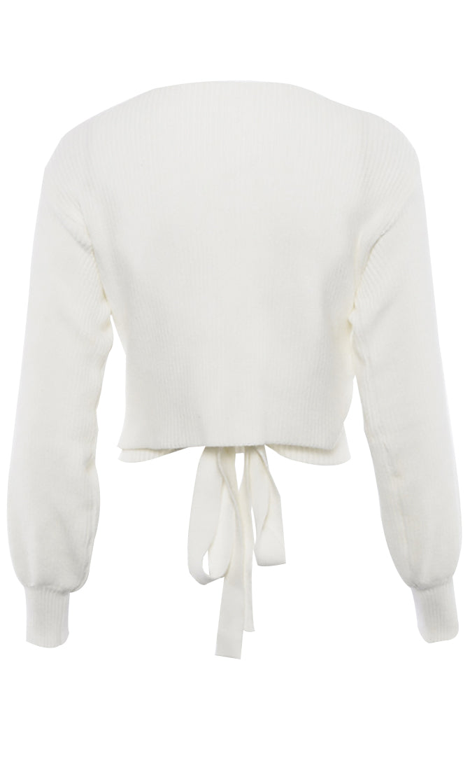 Always Casual White Long Lantern Sleeve Cross Wrap V Neck Tie Back Crop Pullover Sweater