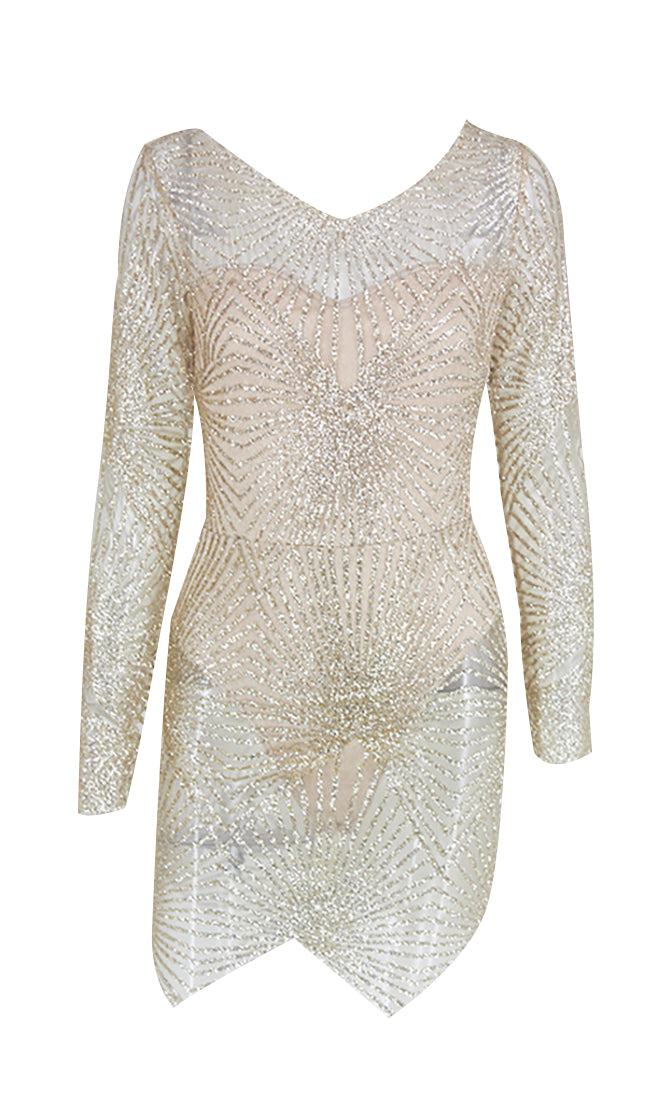 Nights Like This Sheer Gold Mesh Glitter Geometric Pattern Long Sleeve V Neck Bodycon Mini Dress